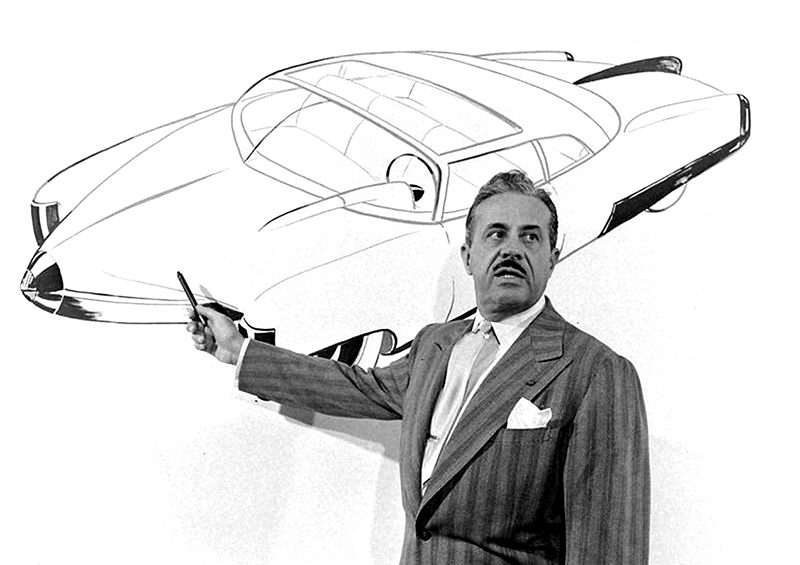 Raymond Loewy, presenting a concept car sketch Source:   https://bit.ly/2I2u24a
