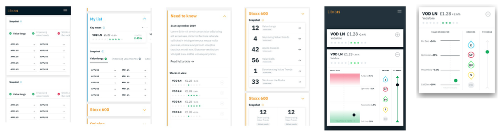 We knew that many users would check stock portfolios whilst commuting on their mobiles, and this informed UX work focus. We optimised all screens for mobile use, considering various ways of formatting charts and tables and testing them with interactive prototypes to make our choices.