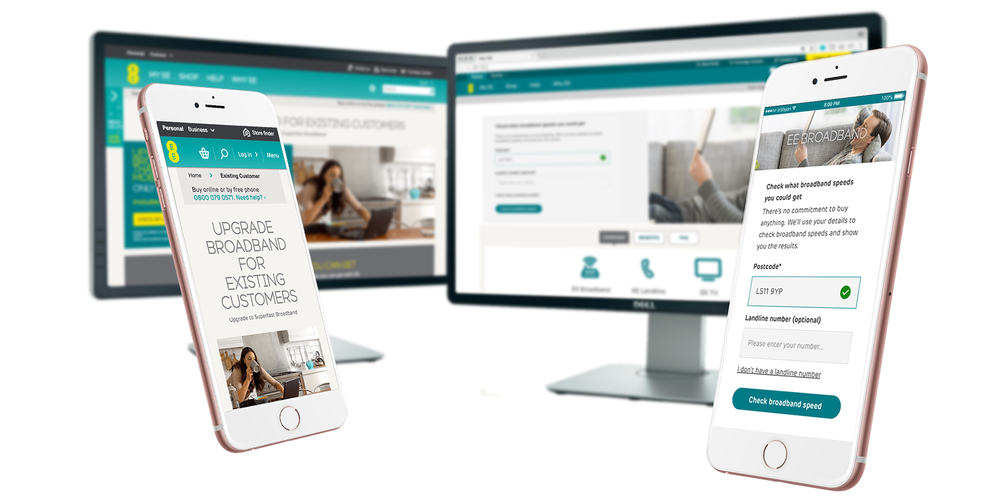 Before and after: The home broadband section of ee.co.uk. Re-designed to work better on mobile and provide more clarity to customers