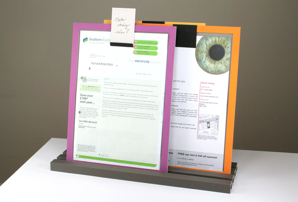 Life is full of important letters and documents, but the impaired brain is taxed by stacks of paper. Content hidden from view becomes difficult retain and the missed information becomes a frustration. Instead, 'memory frames' prove the visibility and graphical contrast needed, prioritising and drawing attention to information in the home environment