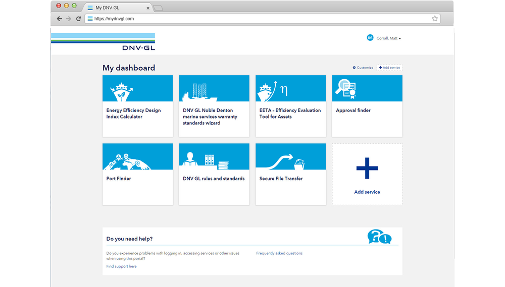 At project start, the dashboard offered simple links to DNV GL product sites. The plan was to add rich content with new widgets, but the team needed help to identify what to build, and roadmap their development over the coming year. The company-wide dashboard also meant many stakeholders and unprecedented collaboration across parts of the business