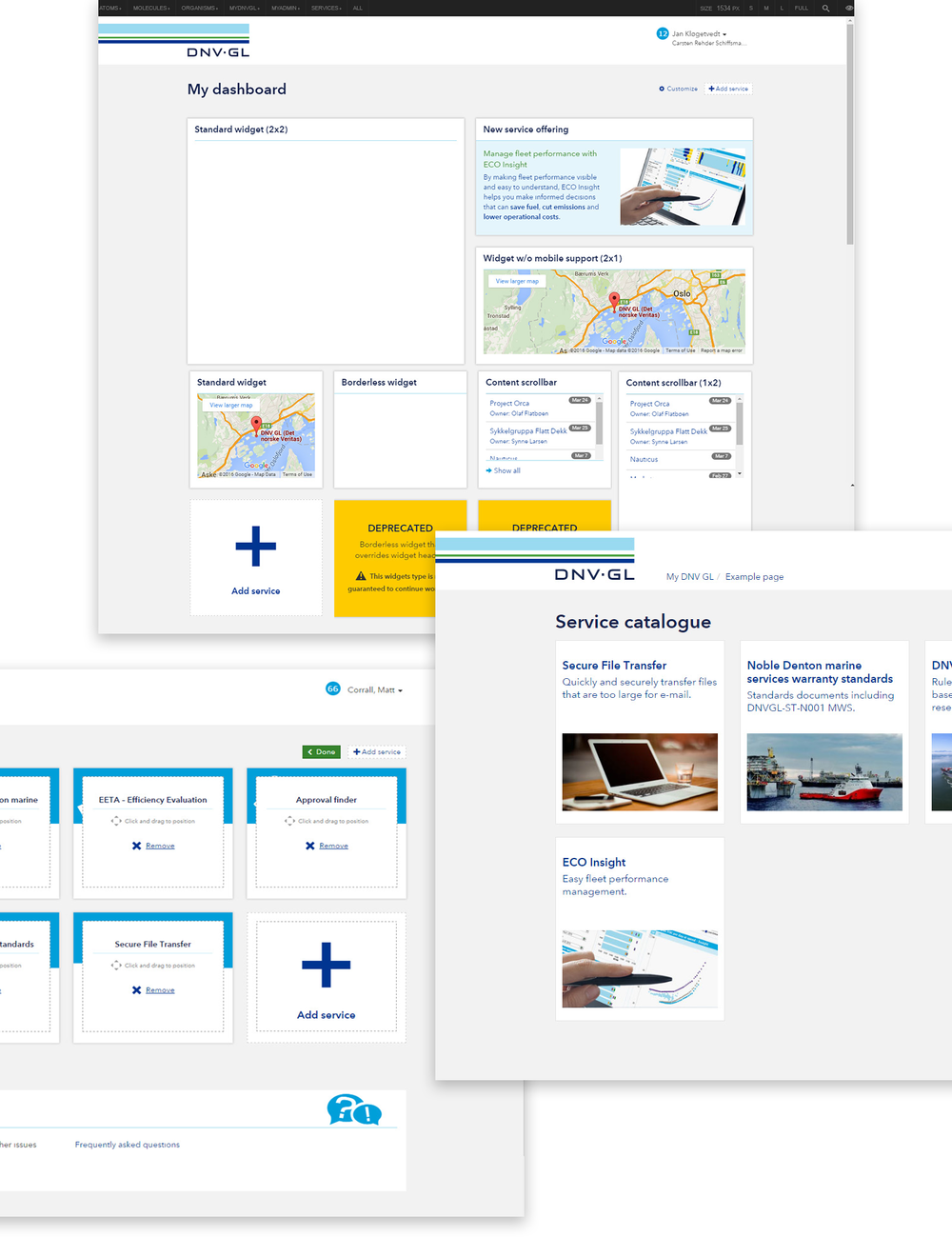 Working with the front-end developer to ensure software teams could implement widgets correctly, we developed a pattern /style guide to encourage consistent design. We considered and included content to show the on-boarding journey, through registering for services, assigning them to and customising the dashboard area