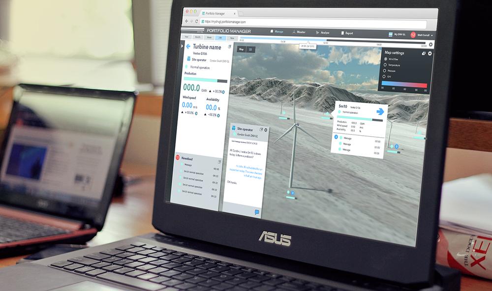Illustrator /Photoshop UI mockup. Desktop site showcasing Unity 3D wind farm visualisation