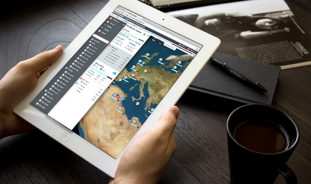 Illustrator /Photoshop UI mockup. Tablet site demonstrating clear overview of a wind farm portfolio
