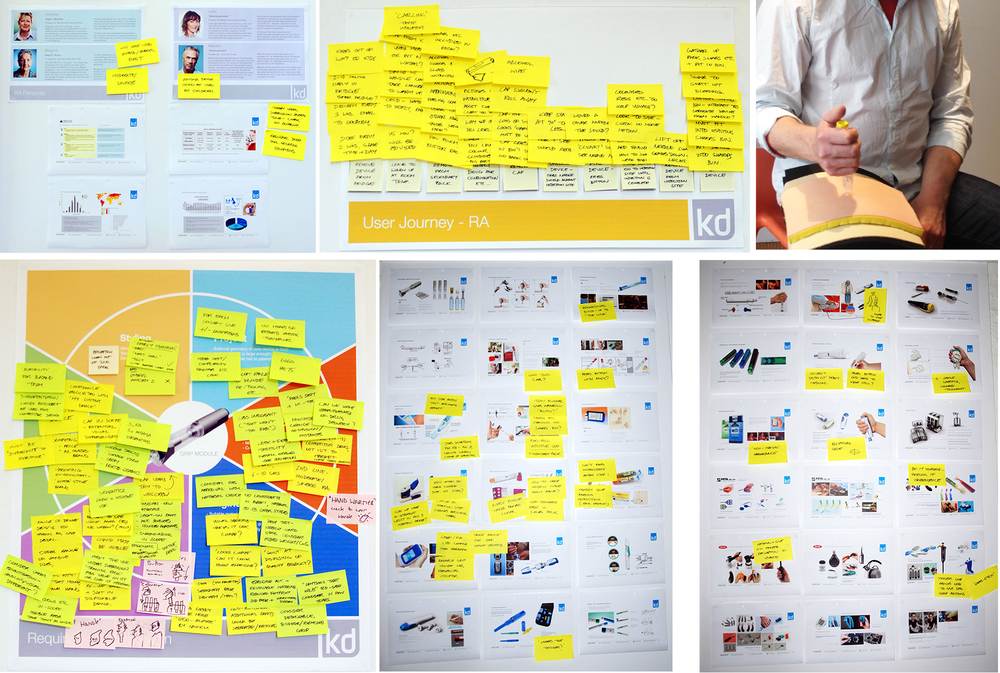 A client stakeholder workshop involved co-creating user personas, a journey map and setting project goals and restrictions. The team conducted desk research to identify competitors and market innovations, and reviewed them with the client, using feedback to help determine direction for concept ideation. We also all used the existing product to 'inject' ourselves using a skin substitute foam, so we could experience how it felt first-hand