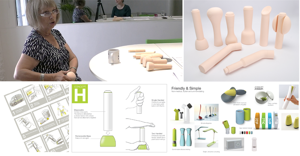 Over several days, we conducted interviews with moderate and severe patients, carers, nurses and asthma patients. Participants were asked about their lifestyle, symptoms and experience with self-injection. They handled and discussed block models as well as grip material samples, before offering their reactions to the potential look of the products using a series of visual mood-boards
