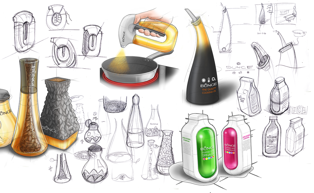 Sample product development sketches, exploring form, materials, pack graphics and on-shelf appearance for each of the selected concepts. Starting with pen and paper, I moved to digital sketches once a rough form was established, detailing and rendering using a Wacom tablet and Autodesk Sketchbook
