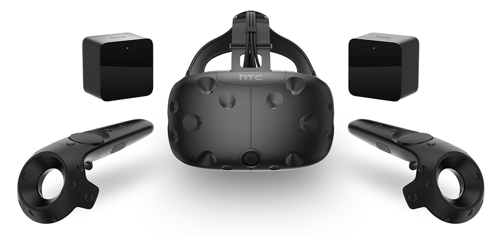 HTC Vive: Headset, controllers and room sensors (Image source: http://bit.ly/2dwHEnc).