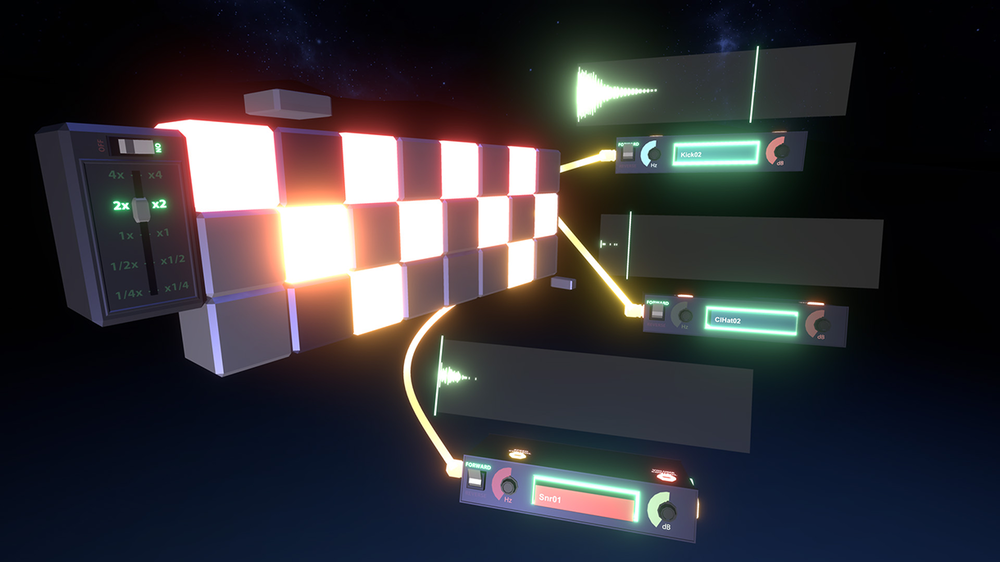 Music generation UI in Soundstage, composed of connected 3D objects.