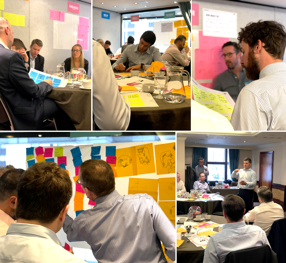 Over 3 hours, we introduced 20 interested insurance brokers from BMS to Design Thinking. We considered their clients' needs, identified opportunities to innovate, and devised new service designs to answer unmet customer needs in a high-energy workshop.