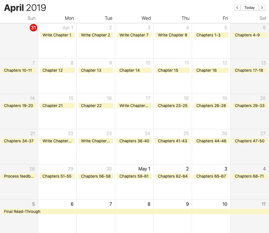 revision calendar