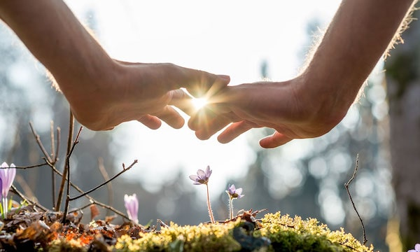 two hands touching over a bed of moss and wildflowers