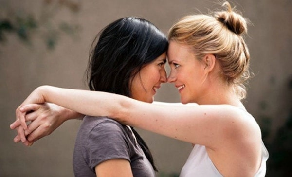 lesbian couple standing nose to nose, smiling