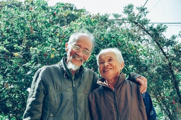 happy elderly Asian couple