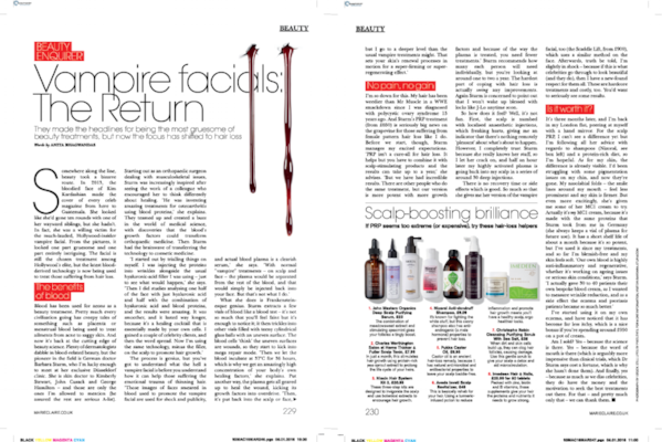 MARIE CLAIRE - VAMPIRE FACIALS: THE RETURN
