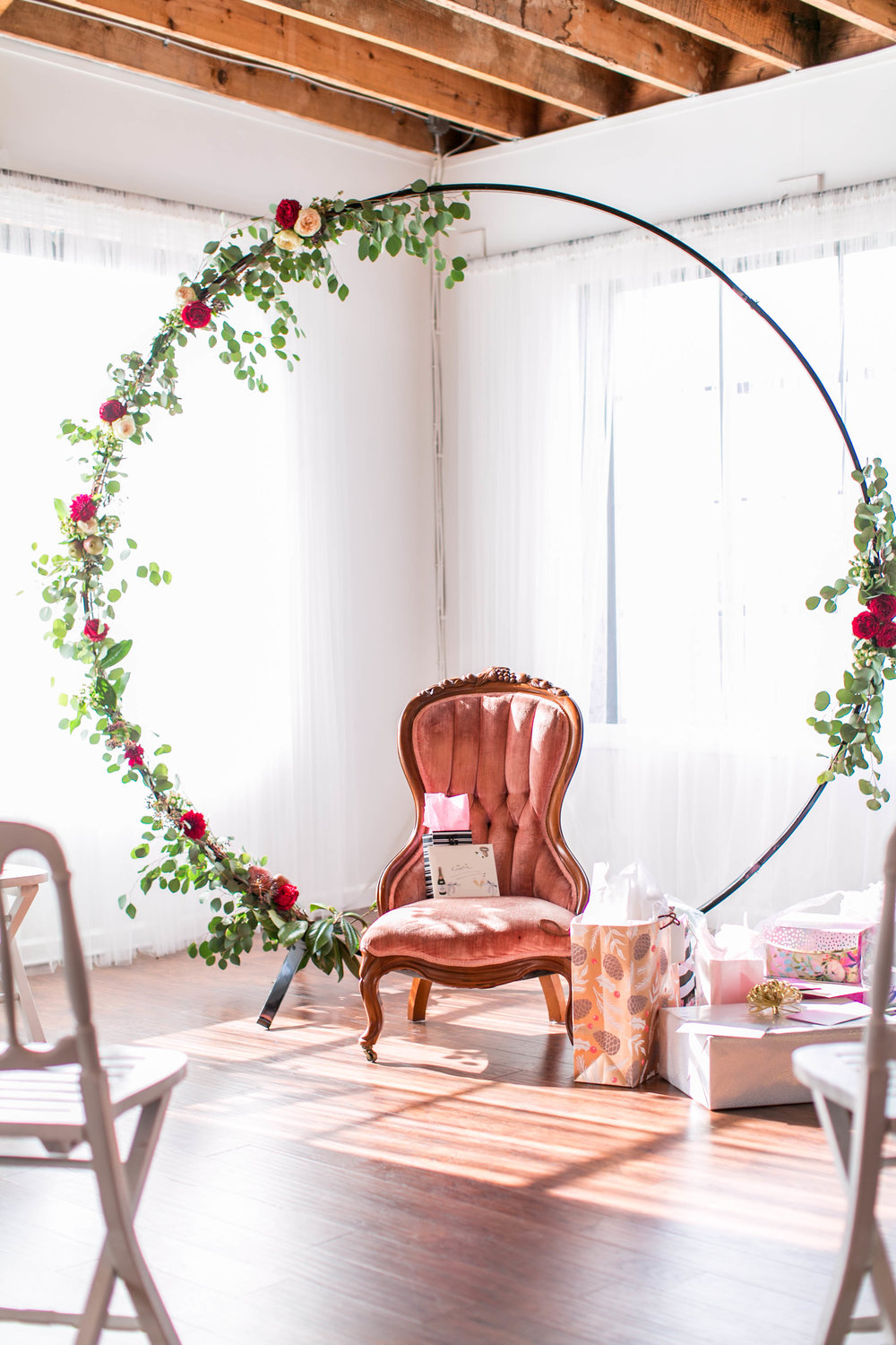 Bridal Shower Seating Area with Flowers