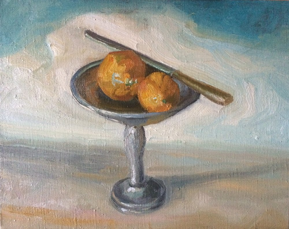 Oranges and Knife.Oil on Linen.jpg