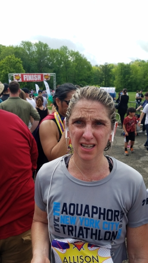 Me, miserable after the Super Hero Half Marathon.
