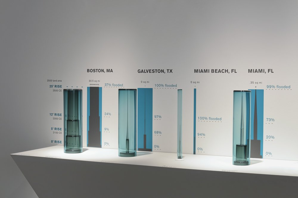 Cities Underwater - Boston, Galveston, Miami Beach, and Miami (installation detail)
