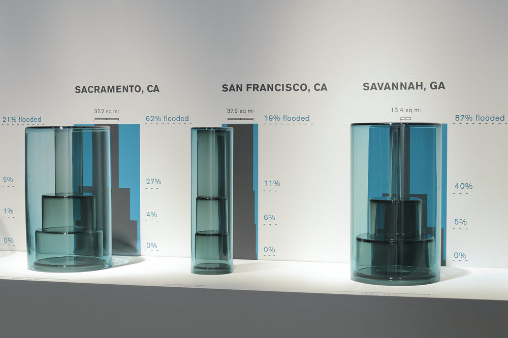 Cities Underwater - Sacramento, San Francisco, and Savannah (installation detail)