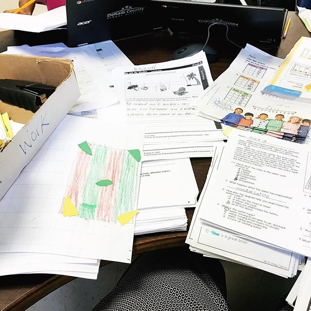 Present me is mad at past me for neglecting to clear out the Turn in Work Box before we left for spring break. This mess was waiting for me to organize today.🤦🏻‍♀️ . . . #iteachsecond #readingteacher #teacherlife #gradingneverends #iteachtoo #teachersofig