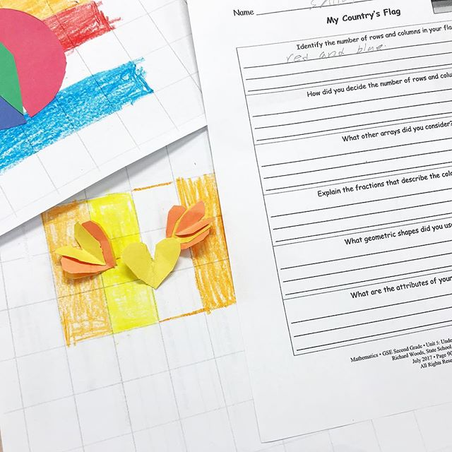 Not reading related, but this is one of my favorite math tasks we do all year.  We've been learning about shapes and their attributes and also fractions in our geometry unit. The culminating task is for students to design their own flags. Then they analyze to identify and describe the shapes and fractions included. My students are from all over the world, so they love studying flags🚩 from each other's countries 🇳🇵 🇸🇴 🇲🇲 🇦🇫 🇻🇳 of origin, and then incorporating some of the shapes and colors in their own designs. Lots of fun hands on math happening in our second grade class today!  #teachersfollowteachers #iteachsecond #teachersofinsta #classroomideas #handsonlearning