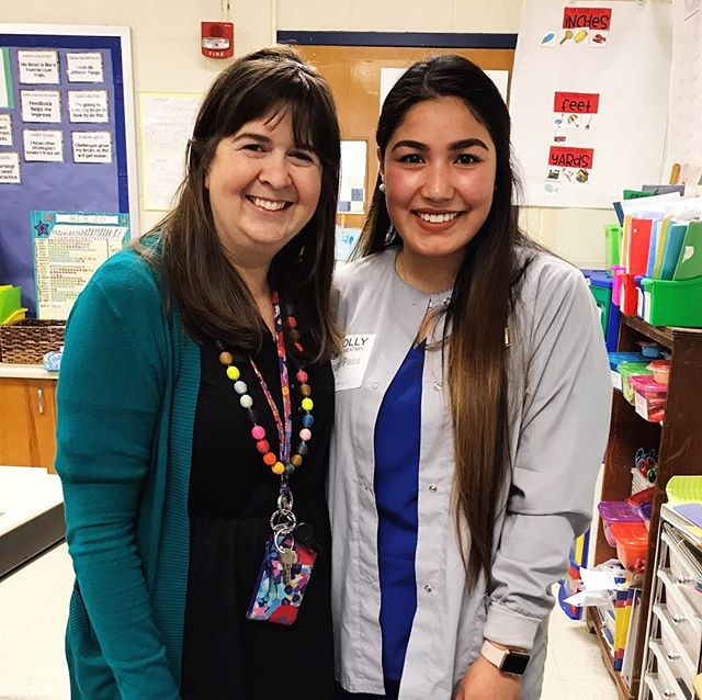 In my homeroom each year, I usually have 1-2 sweet students who become the teacher 👩🏻🏫 helpers.  Well 13 years ago, this girl went above and beyond in that role.  I was having a difficult year both in my personal life and also at school. This student kept me grounded that year and helped brighten each day, even during some tough months.  She remains at the top of the short list of #beststudentsever And now I have the pleasure of seeing her all grown up and about to graduate college. Today she stopped by my room to give my current #secondgraders a lesson in dental health.  This is a #proudteachermoment right now.  When I became a teacher, I said my goal was to make a difference to at least one student. No one told me about how the students also make a difference in our own lives.  Have you stayed in touch with any of your former students?  What impact did you have on their lives?  How did they mark your own life and career?  #teachersofinstagram #teachersfollowteachers #iteach2nd