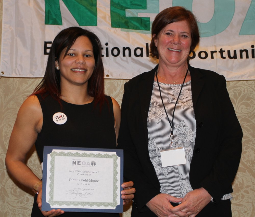 Tabitha Pohl-Moore, NEOA Achiever, with nominator Monda Kelley from VSAC Talent Search
