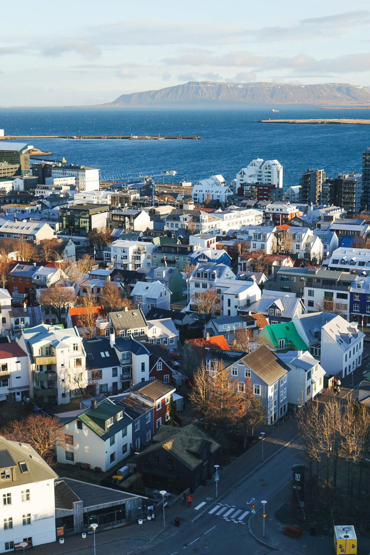 View of Reykjavik from the top of Hallgrímskirkja church.