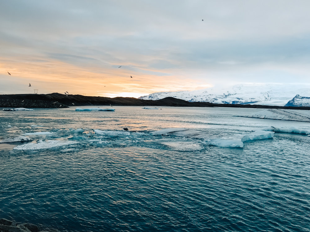 Sunset at Jökulsárlón glacier lagoon.