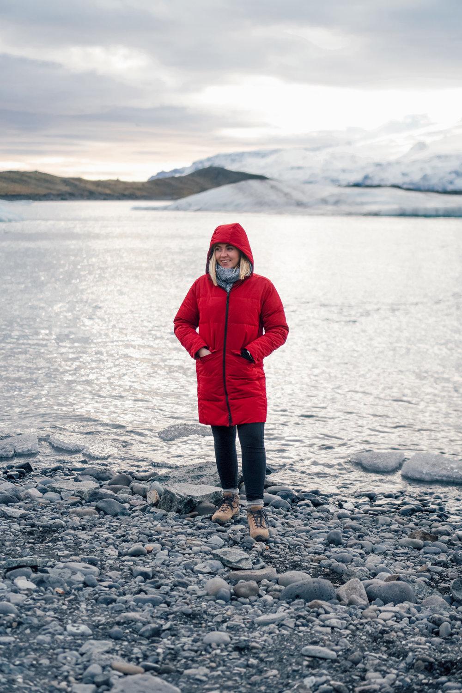 Jökulsárlón Glacier Lagoon at sunset / Jacket:  Everlane  / Boots:  Vasque