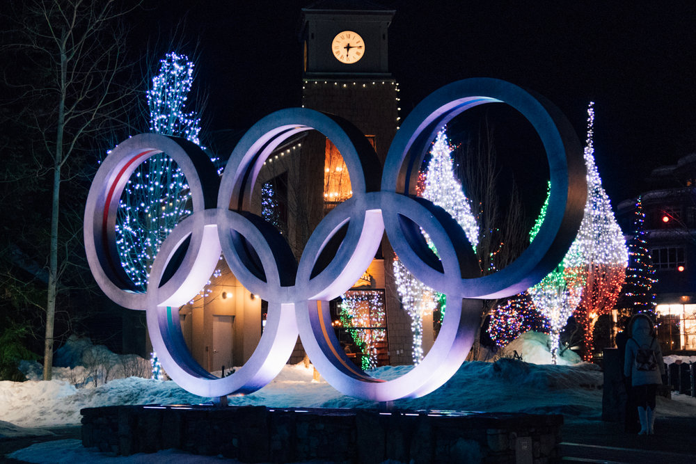 The Olympic Rings in Whistler Village lit up at night