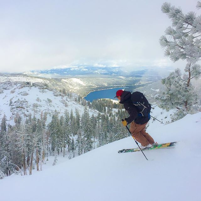 First turn of the season.  Skier Mike Botchenek, north aspect Mt. Judah