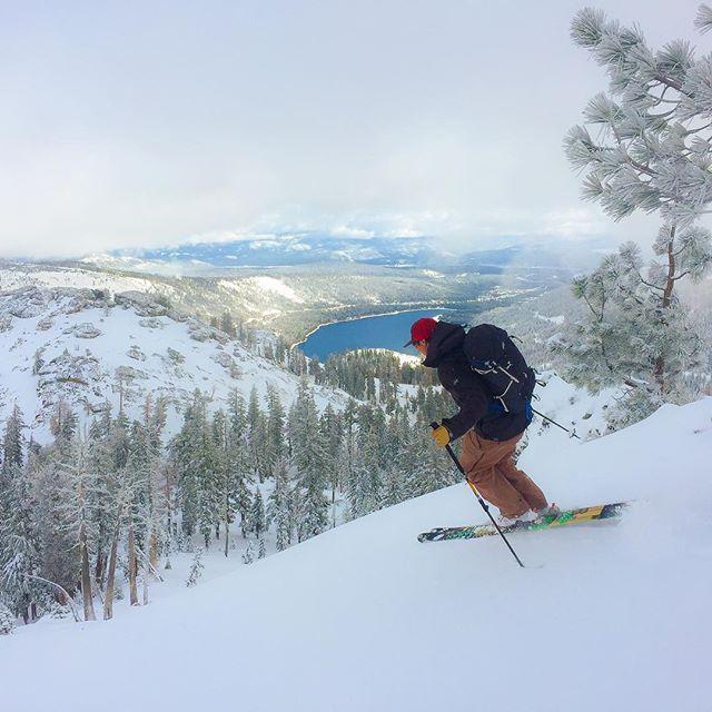 First turn of the season.  Skier Mike Botchenek, north aspect Mt. Judah