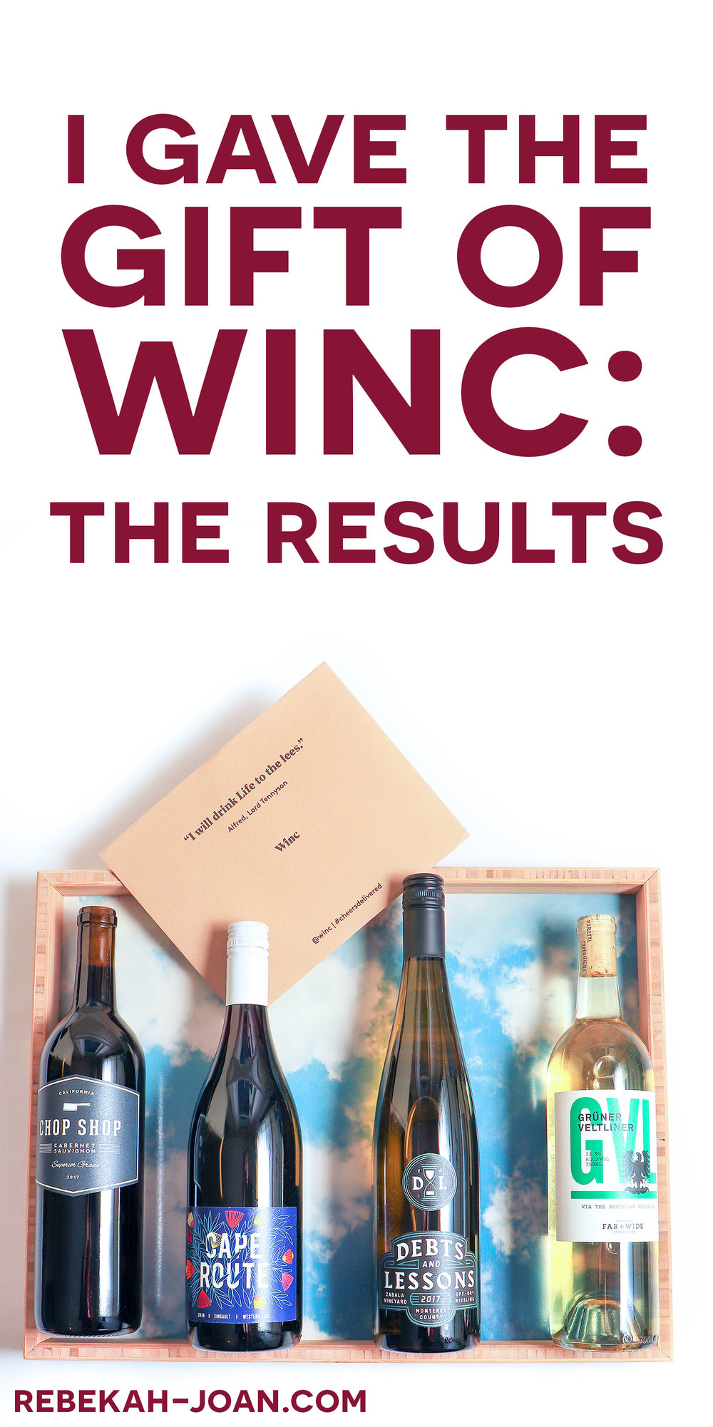 - For Christmas, I gave the gift of the wine subscription service Winc. This is my review of the entire process, from the palette test + shipping to tasting + rating the wines.