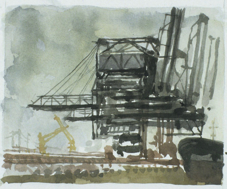 "Study for Signals II 6x8"" Watercolor on paper"