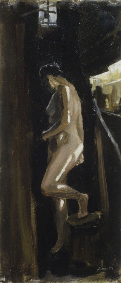 Study for Monument #1 Oil on paper 15x6""