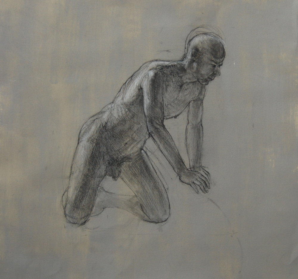 Male on Prop. Charcoal and white on prepared paper 24x24""