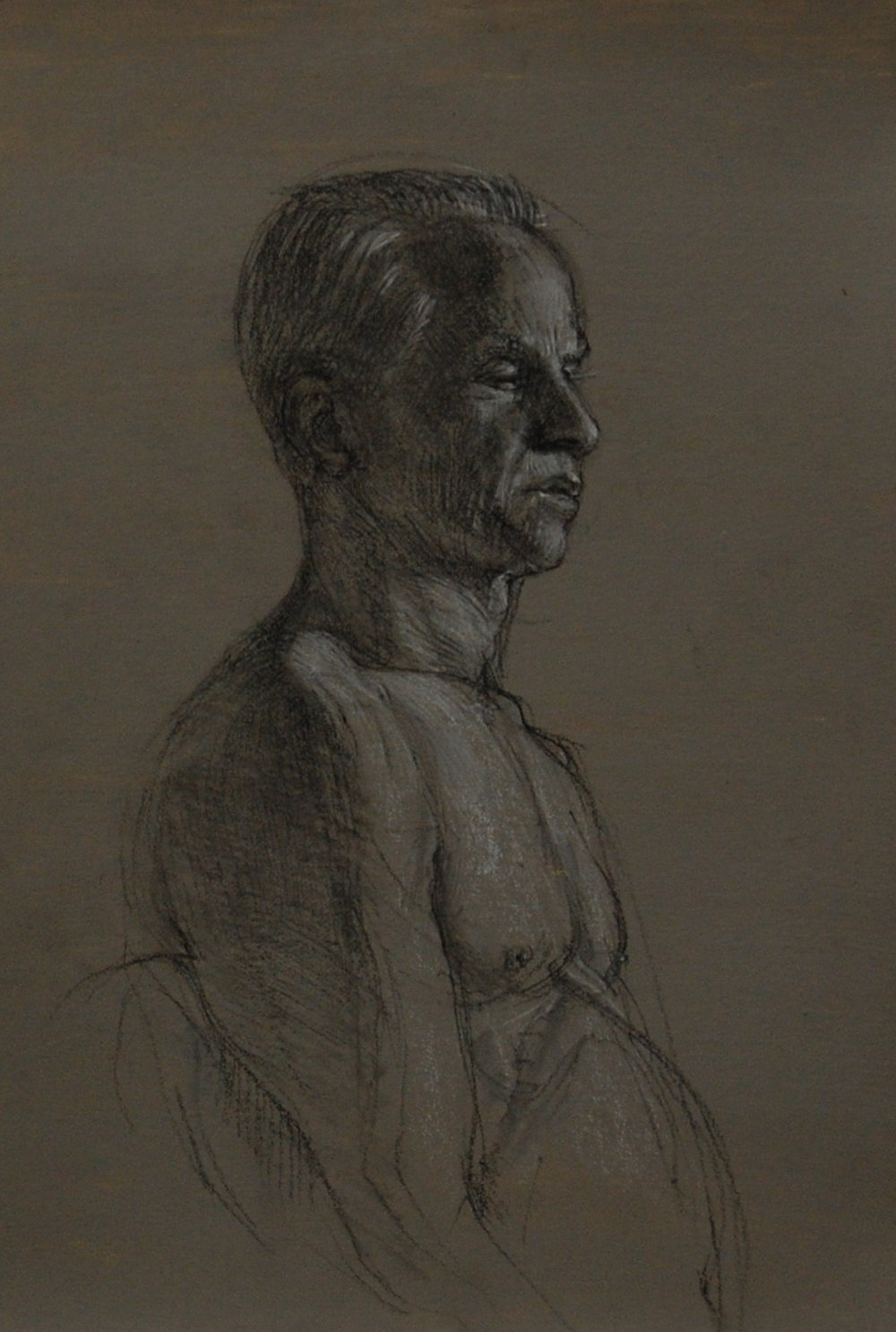 Portrait of Richard. Charcoal and white on prepared paper 15x7.5""