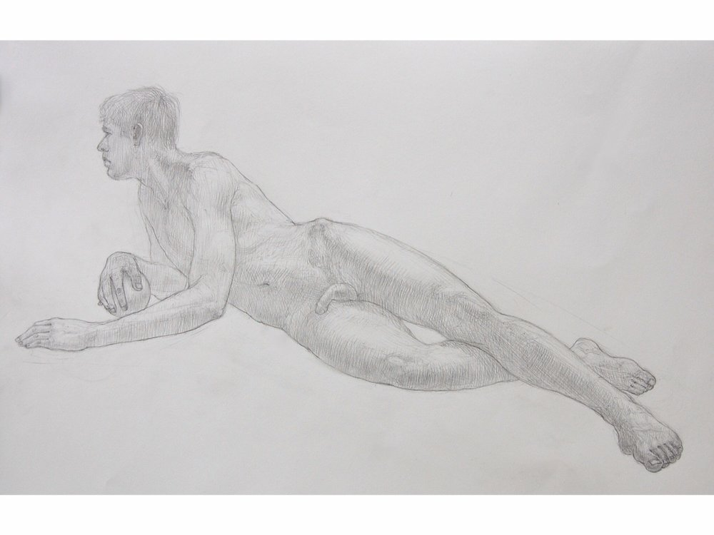 """Reclining Male with Sphere"" Pencil on Arches water color paper. 22x30"""