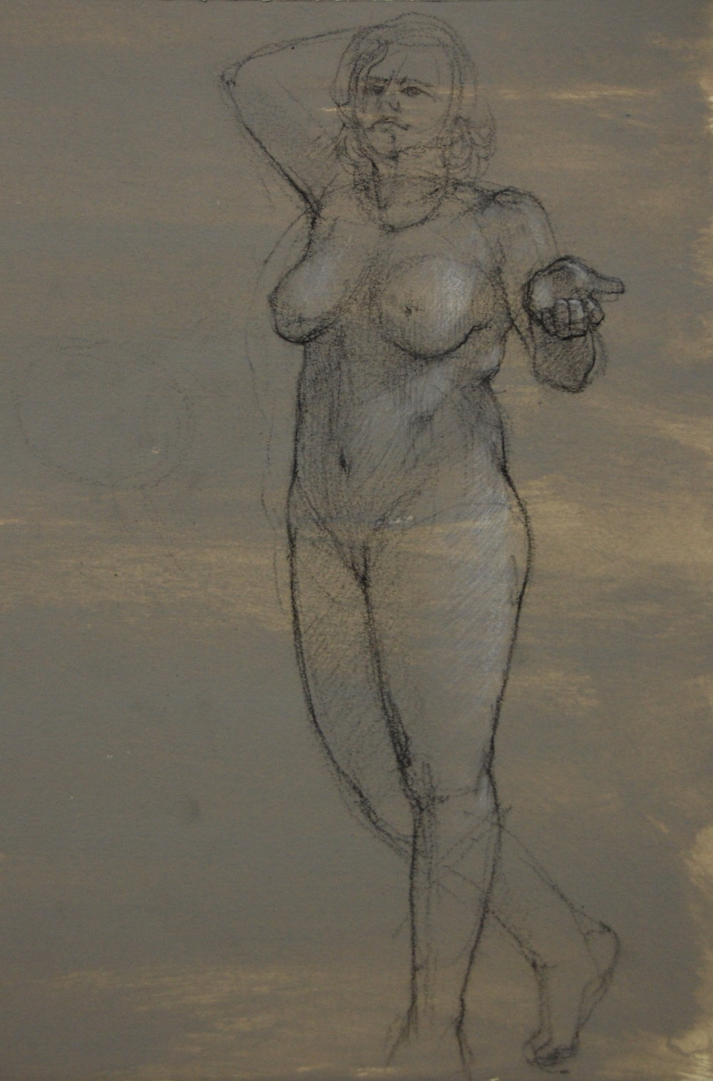 Sally Standing. Charcoal and white on prepared paper 15x7""