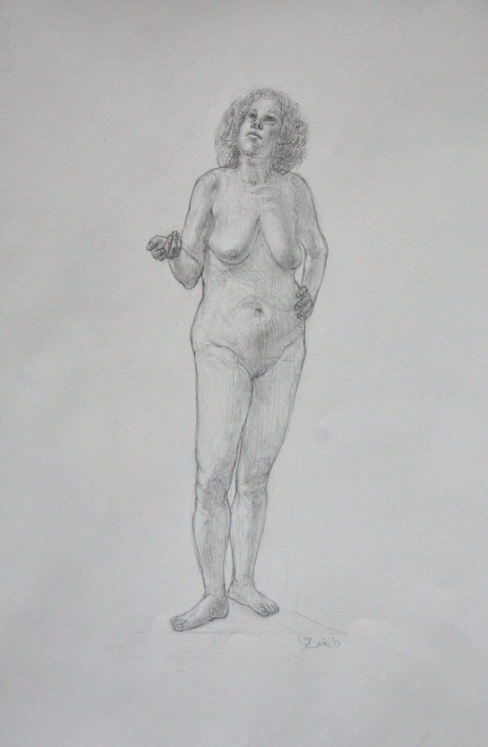 Standing female. Pencil on Arches hot press 13x19""