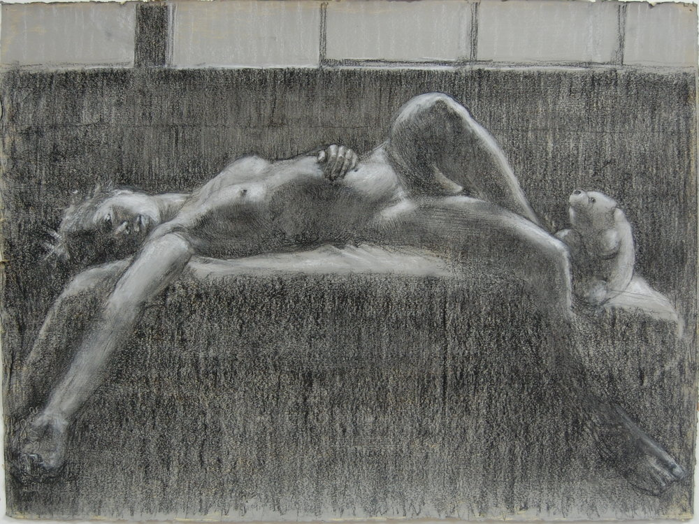 Study for painting 22x30 charcoal and white on prepared paper.jpg