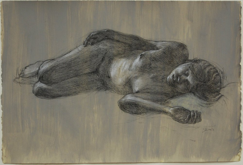 """Reclining Nude"" Charcoal and white on prepared paper. 22x30"""