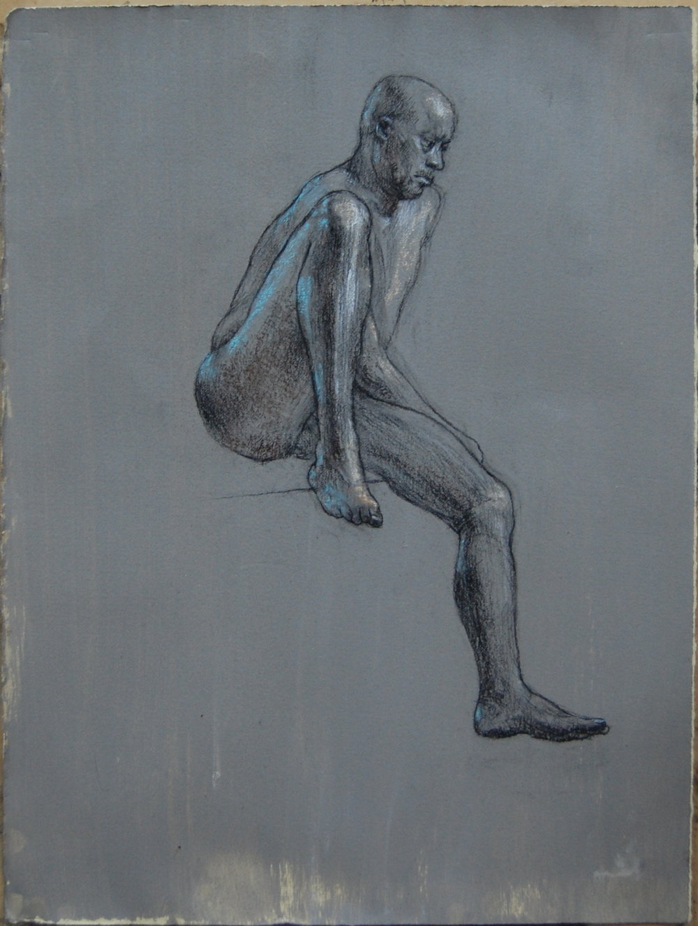 "David seated. 11x9"" Charcoal. white and blue on prepared paper"