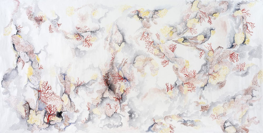 Georgina Hooper. ' Undaunted ' (2015) ink and watercolour on rice paper, 130 x 65cm.