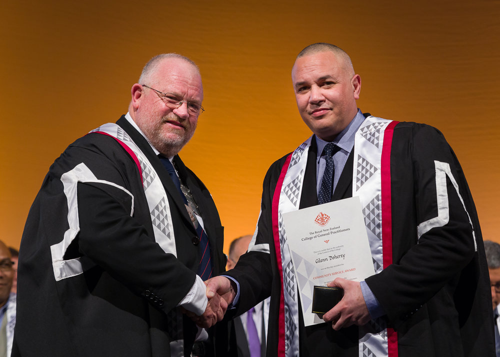 Royal New Zealand College of General Practitioners, Community Service Medal - Dr Glenn Doherty, CEO and Medical Director, Tongan Health SocietyThe Community Service Medal recognises an outstanding contribution to general practice undertaken within the member's own community.