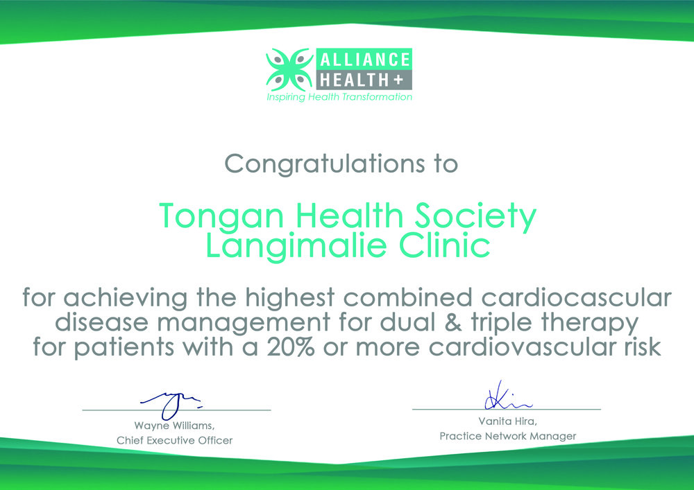 Alliance Health Plus - For achieving the highest combined cardiovascular disease management for dual & triple therapy for patients with a 20% or more cardiovascular risk.