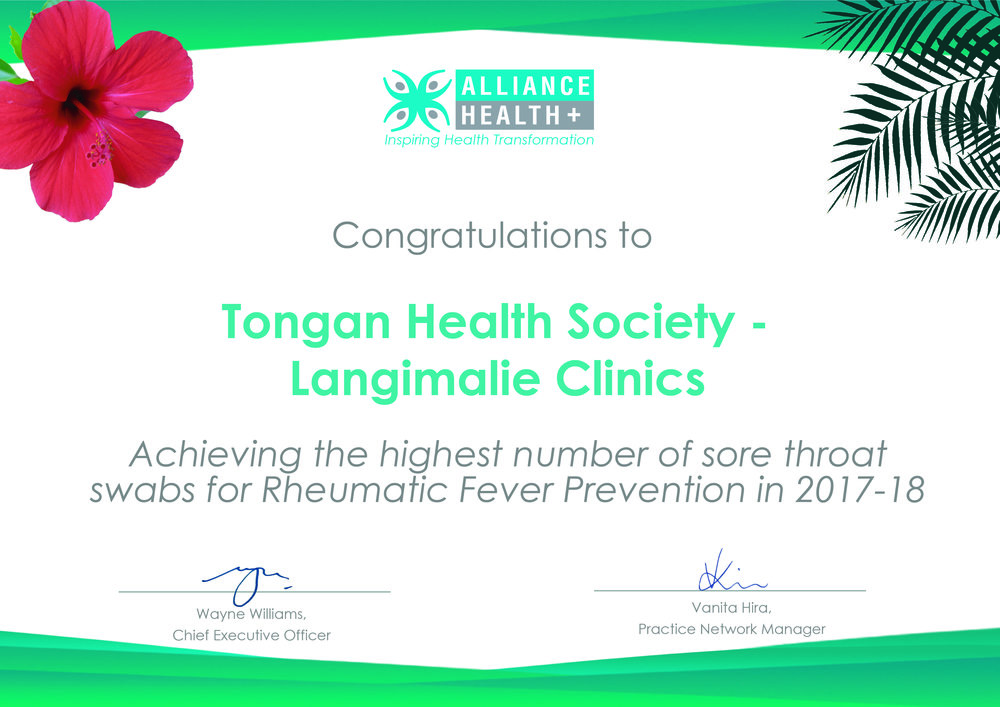 Alliance Health Plus - Achieving the highest number of sore throat swabs for Rheumatic Fever Prevention in 2017-18.