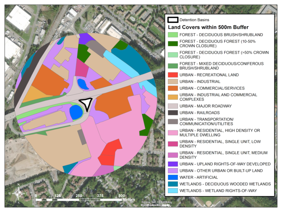 An example of the different land types within 500 meters of a detention basin, shown in white at the center. (Land use/land cover data from NJ Department of Environmental Protection.)